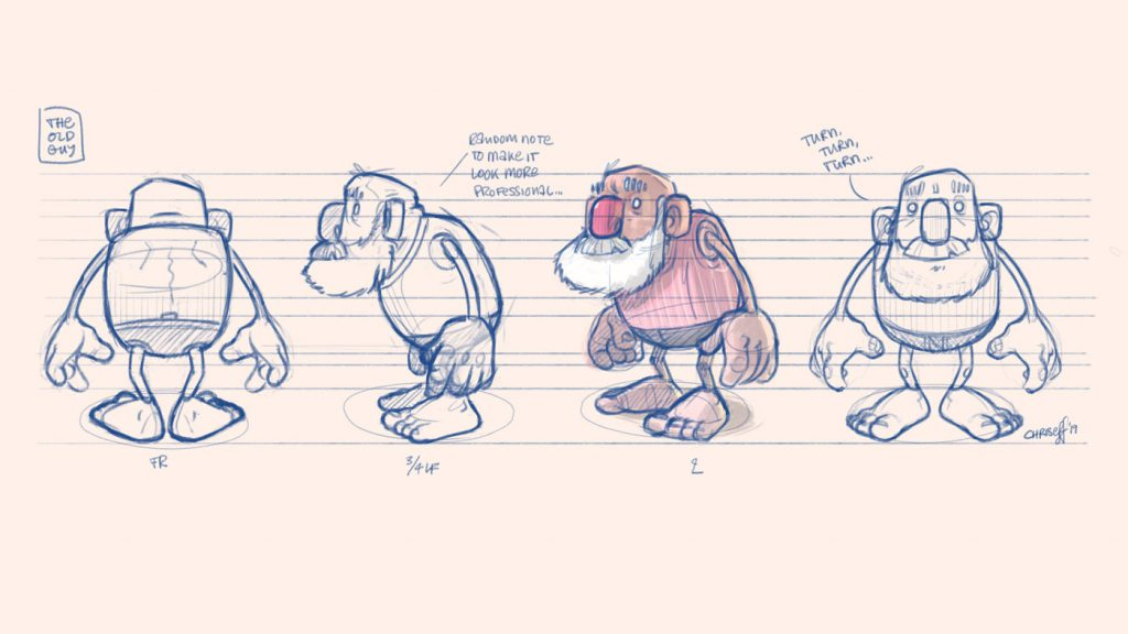 character design turnaround of old man - christian effenberger