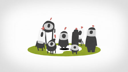 animation still with characters on logo for illustratoren organisation - christian effenberger