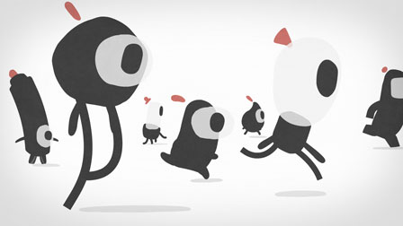 animation still with running characters for illustratoren organisation - christian effenberger