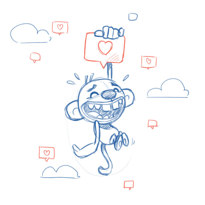 animation sketch social media monkey - christian effenberger