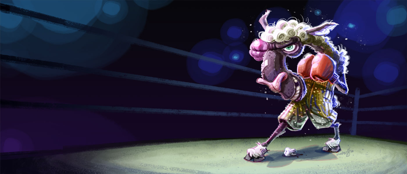 illustration character design of boxing sheep - christian effenberger