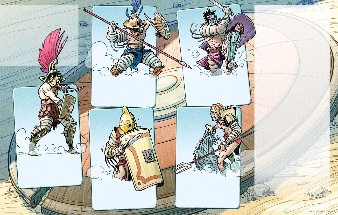 editorial illustration gladiatoren cards geolino - christian effenberger