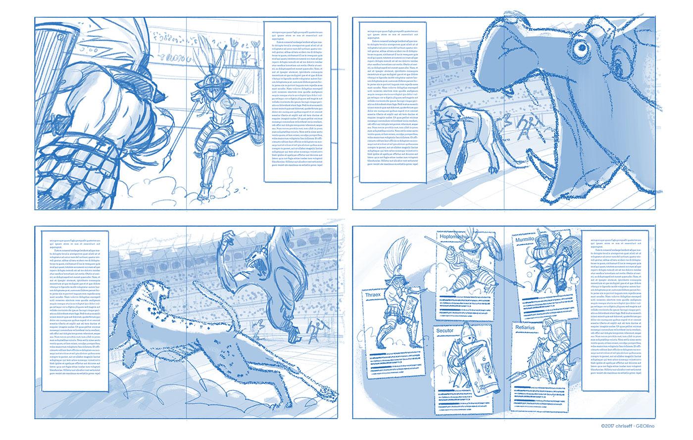 editorial illustration gladiatoren sketches doublespreads for geolino - christian effenberger