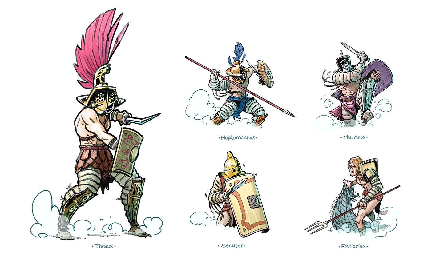 editorial illustration gladiatoren types for geolino - christian effenberger