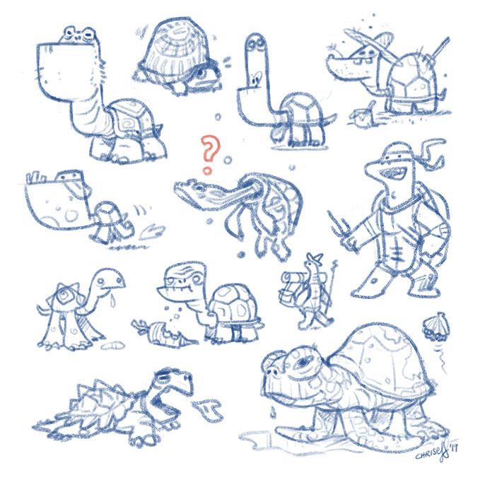 character design turtle sketches - christian effenberger