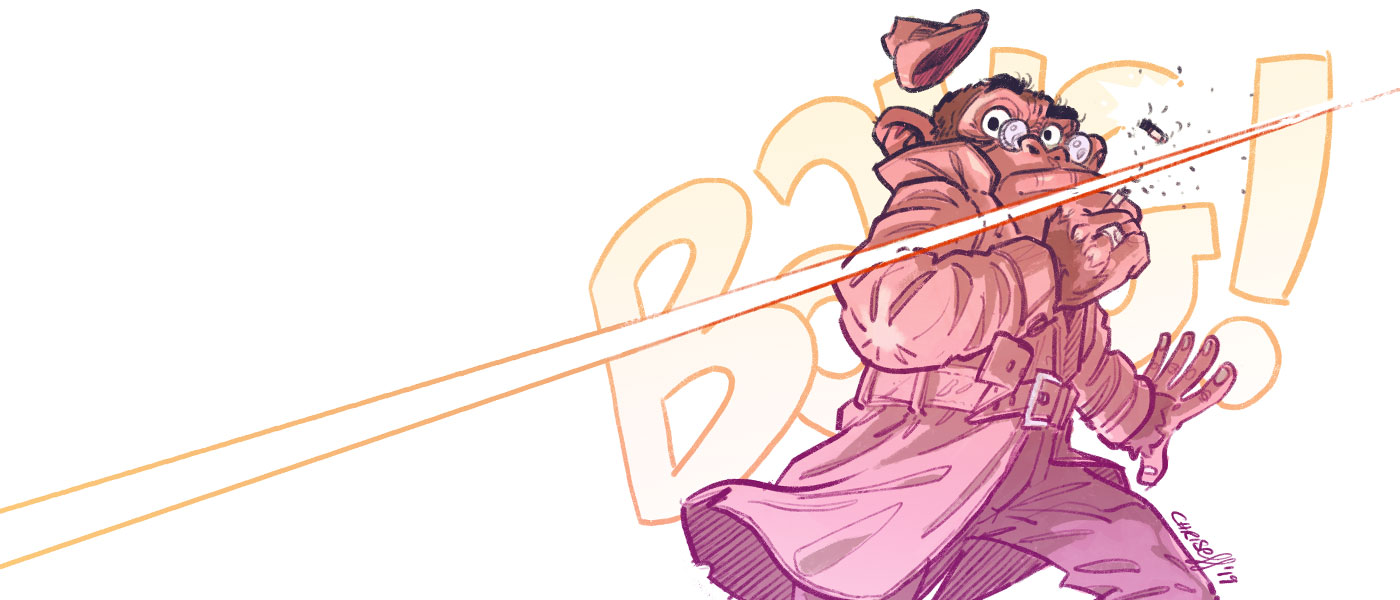 character design chimp detective getting shot at - christian effenberger